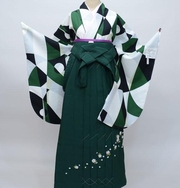 二尺袖着物袴フルセット 幾何学模様 着物生地は日本製 袴と縫製は海外 着物丈は着付けし易いショート丈 新品(株)安田屋 l402959687