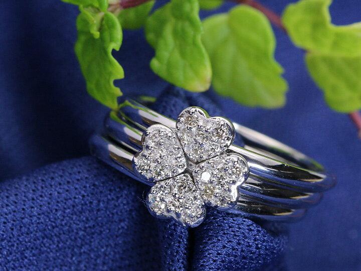 幸せのクローバー ダイヤモンド0.20ct ハートが重なりあう3連 K18WGリング 指輪 1点もの/Ycollectionワイコレクション/送料無料