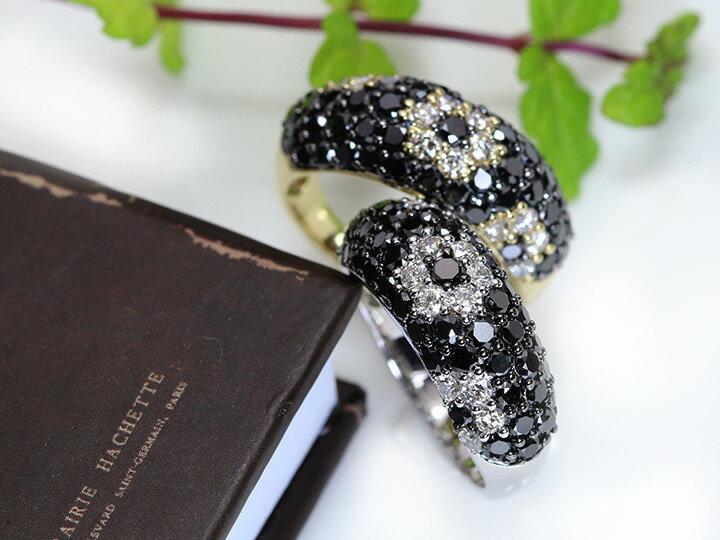ブラックダイヤモンドの中に花咲く無色ダイヤのフラワー・びっしりパヴェ2ct★K18(K18WG)リング 指輪 受注品/Ycollectionワイコレクション/送料無料