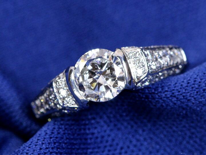 エンゲージにも。SI2クラリティの高品質ダイヤモンド1.009ct(Gカラー)PT900リング 指輪 鑑定書付属 1カラット 1点もの/Ycollectionワイコレクション/送料無料