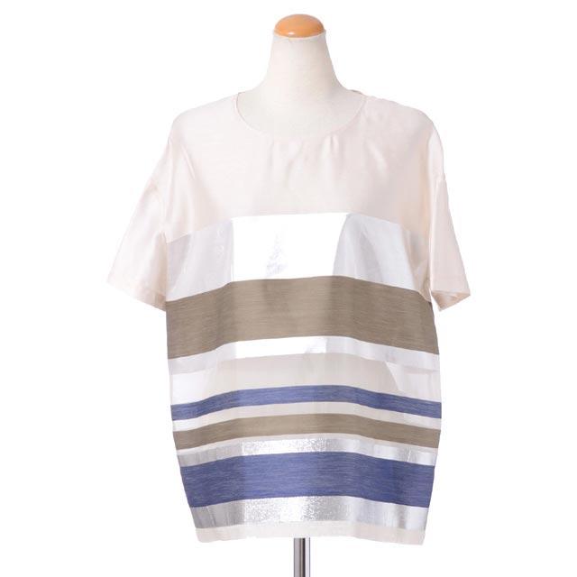 エリカ カヴァリーニ セミクチュール (ERIKA CAVALLINI semi-couture) 半袖後ろリボンブラウス レーヨンシルク アイボリーブルーボーダーp6e062229 2016SS レディース春夏新作 送料無料 正規取扱