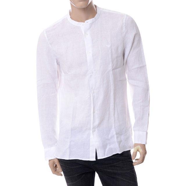 エンポリオアルマーニ (EMPORIO ARMANI) ノーカラーシャツ リネン ホワイト3y1c301ncrz0100 メンズ 送料無料 正規取扱