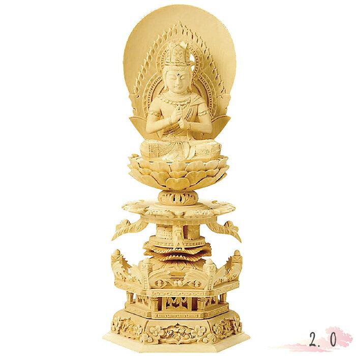 仏像 総白木 六角台座ケマン付 大日如来 金泥書 2.0寸 仏具 仏教 本尊 仏壇 Butsuzo a Buddhist image a statue of Buddha