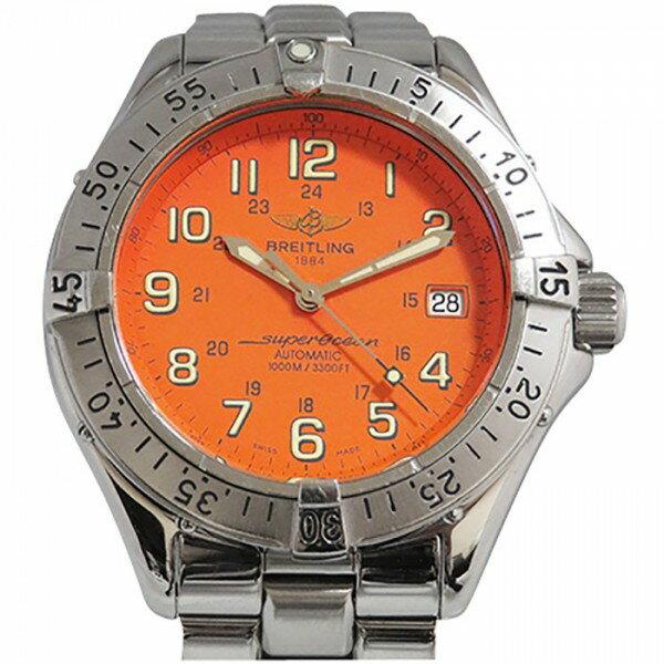 爆安セール ブライトリング BREITLING スーパーオーシャン A17340 オレンジ文字盤 メンズ 腕時計 【中古】