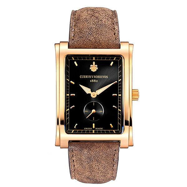 クエルボ・イ・ソブリノス CUERVO Y SOBRINOS プロミネンテ クラシコ 1015-9NS ブラック文字盤 メンズ 腕時計 【新品】