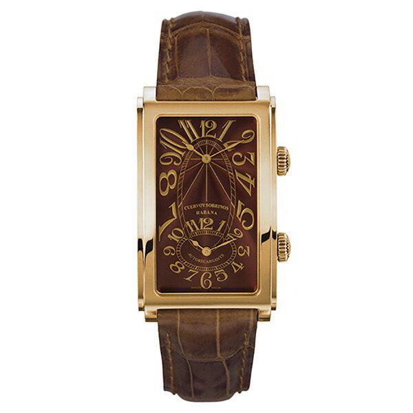 クエルボ・イ・ソブリノス CUERVO Y SOBRINOS プロミネンテ デュアルタイム 1112-8TG タバコカラー文字盤 メンズ 腕時計 【新品】