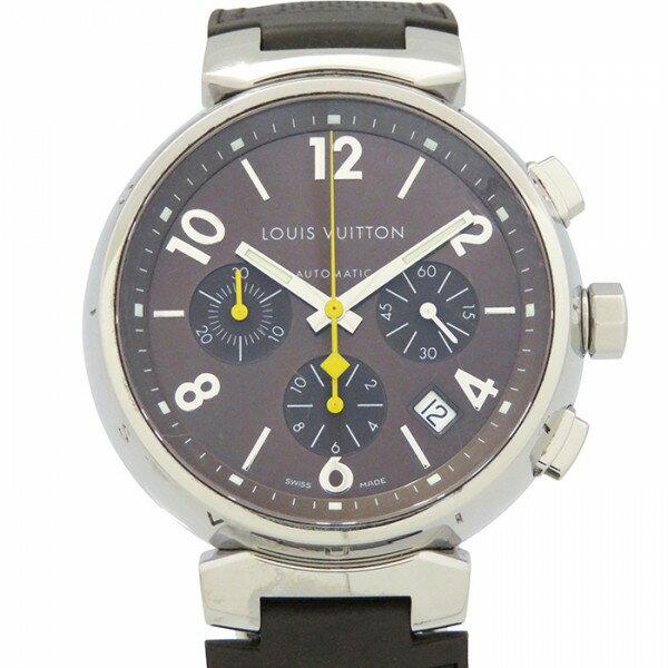ルイ・ヴィトン LOUIS VUITTON タンブール クロノ Q1121 ブラウン文字盤 メンズ 腕時計 【中古】