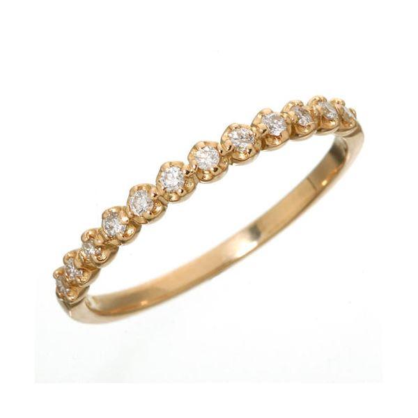 【日本製】【送料無料】K18 ダイヤハーフエタニティリング ピンクゴールド 9号 指輪( K18 18金 豪華 ペア シンプル 人気 チェーン 高級 )