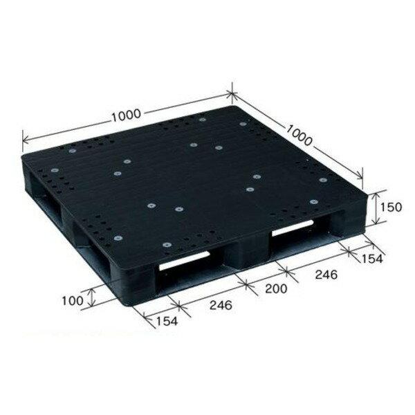 【送料無料】小型プラスチックパレット/物流資材 【1000×1000mm 片面使用/ブラック】 JCK-D4・100100 岐阜プラスチック工業( ブラック 黒 )
