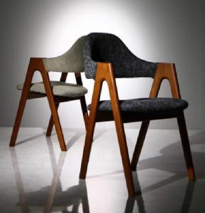 【送料無料】単品 天然木ウォールナット材 モダンデザインダイニング ウォル用 ダイニングチェア 2脚組 (座面カラー サンドベージュ(BE)) イス 椅子