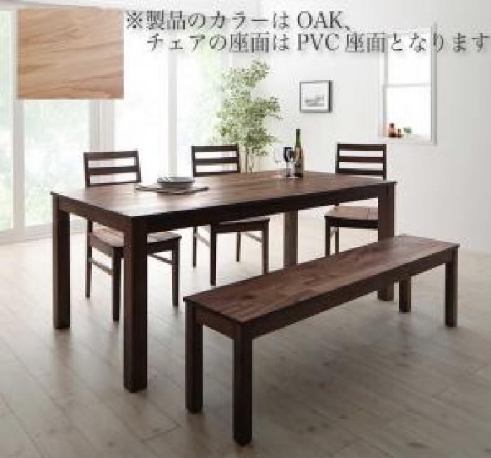 【送料無料】5点セット(テーブル+チェア3脚+ベンチ1脚) 総無垢材ワイドダイニング クルスス (オーク PVC座 )(テーブル幅 W180)(テーブルカラー オークナチュラル)(座面カラー ホワイト) イス 椅子 白