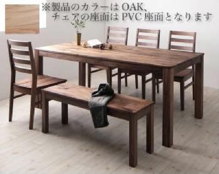 【送料無料】6点セット(テーブル+チェア4脚+ベンチ1脚) 総無垢材ワイドダイニング クルスス (オーク PVC座 )(テーブル幅 W180)(テーブルカラー オークナチュラル)(座面カラー ブラック) イス 椅子 黒