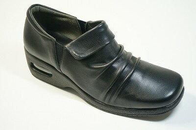 日本製 滑らない靴 立ち仕事 靴 婦人革靴 疲れない靴 痛くない靴らくらく クシュクシュ モールド・エアークッション底カジュアル革シューズ痛くない靴 疲れない靴 ハイドロストッパー 歩いても疲れない靴