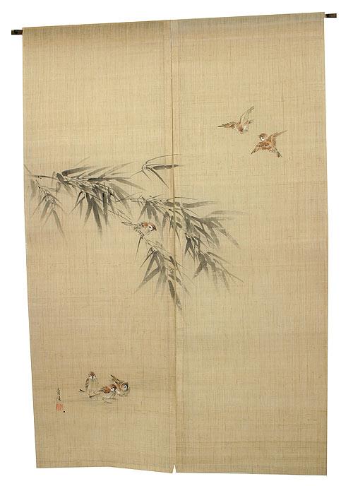 水墨のれん・竹に雀(受注製作)