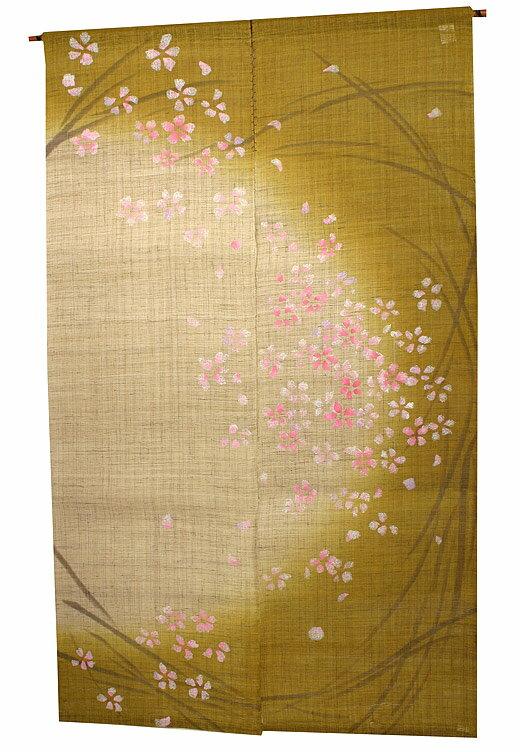 麻のれん のれん 和風暖簾:桜(月の輪)