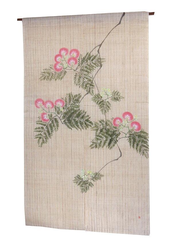 羅工房暖簾(麻のれん)・歓喜の花(受注製作) のれん棒別売り