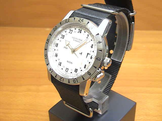 グライシン 腕時計 GLYCINE  【世界限定 600本】 エアマン 1953 ビンテージ クリームダイアル ブラックナイロンストラップ 3904.14.TB9 メンズ 【正規輸入品】