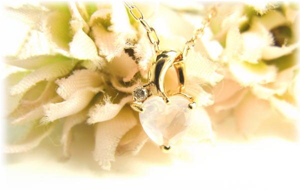 ネックレス ピンクゴールド K10PG 幸せハートローズクオーツダイヤモンド 付 ネックレス