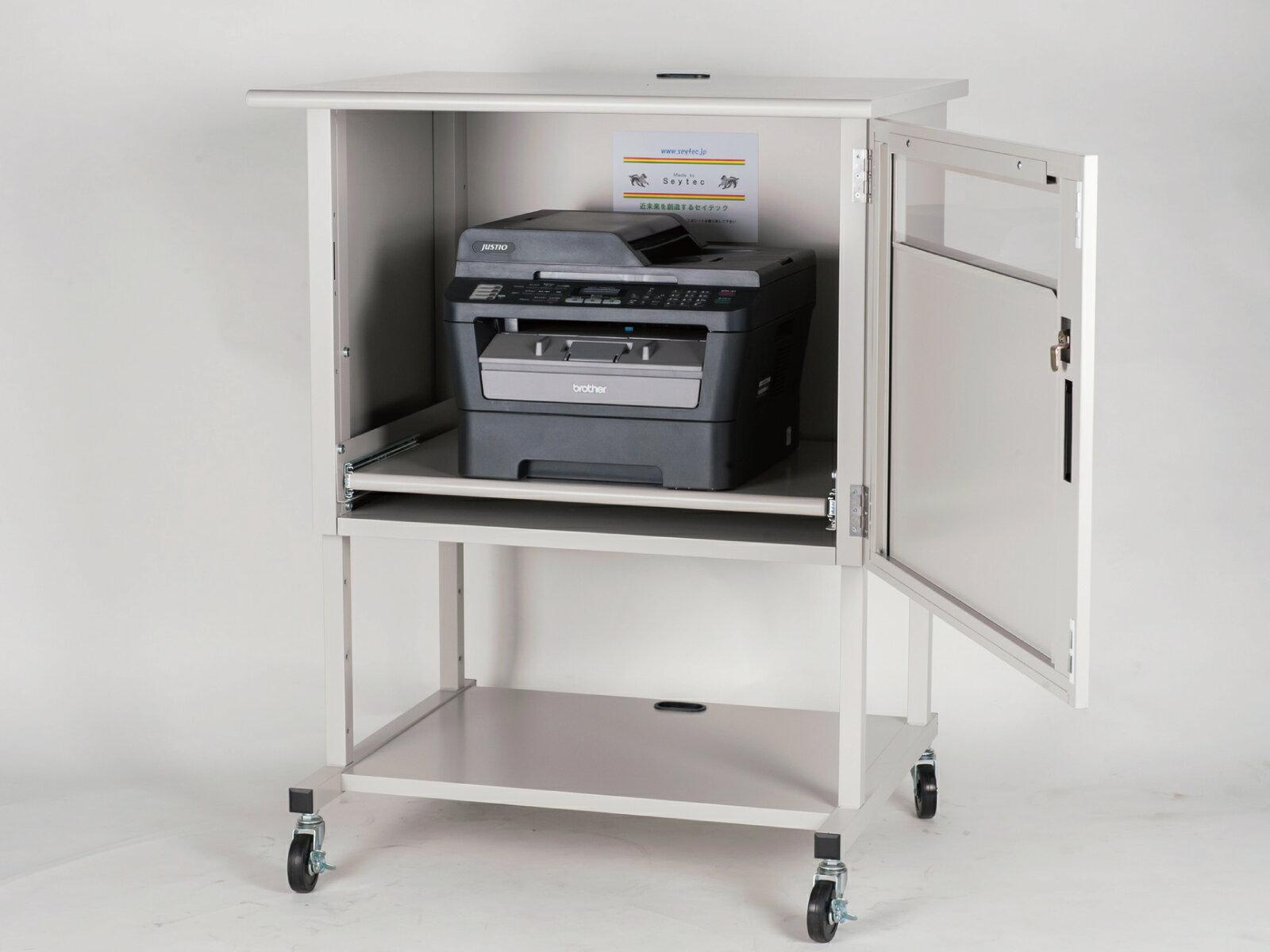 送料無料 防塵ラック PCケース プリンター ホコリ 排熱 盗難防止 工場使用可 セイテック 収納 Tidy PR-Stand G グレー