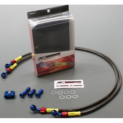 Z1000(10~13年) ボルトオンブレーキホースキット フロント用 Wダイレクト ブルー/レッド スモークホース ACパフォーマンスライン