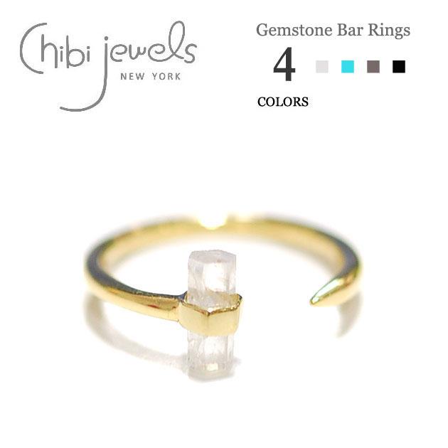 【美的 雑誌掲載】【GLITTER 雑誌掲載】【2点以上で 10%OFF】≪chibi jewels≫ チビジュエルズボヘミアン 全4色 六角バー 天然石ターコイズ C型リング Gemstone Bar Ring (Gold)【レディース】【楽ギフ_包装】