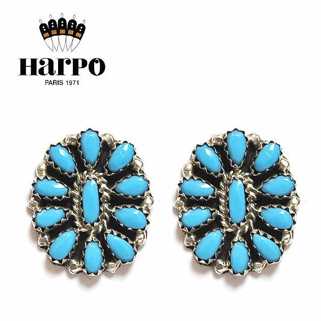 【送料無料】【再入荷】≪HARPO≫ アルポボヘミアン 天然石 ターコイズ シルバー スタッズピアス Turquoise Earrings (Silver)【レディース】【楽ギフ_包装】