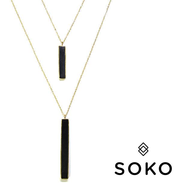 【送料無料】≪SOKO≫ ソコ 水牛 ダブルチェーン ホーンバー ゴールド ロングネックレス Double Horn Bar Pendant  (Gold)【レディース】