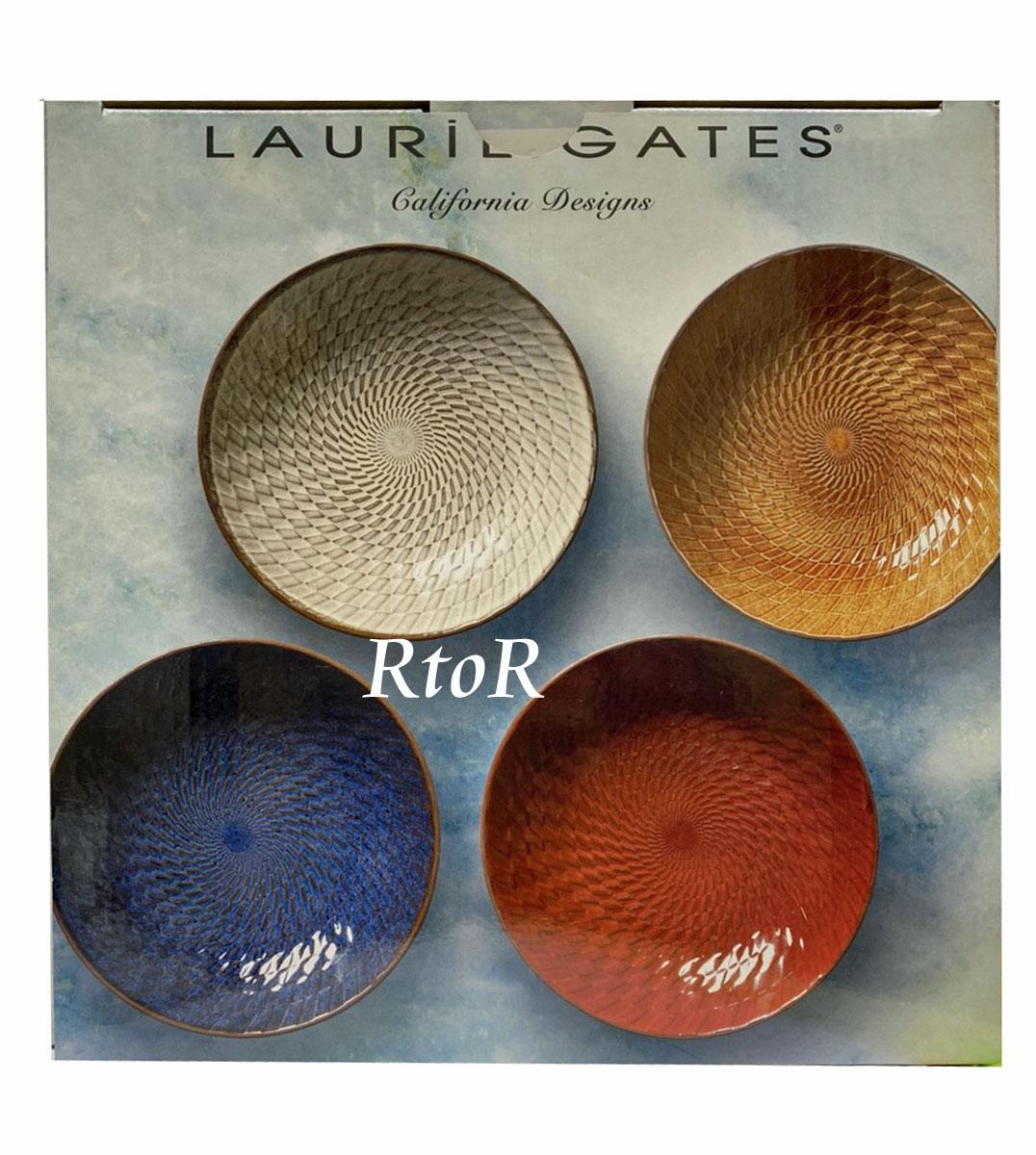 LAURIE GATES ローリー ゲイツ ギャラクシーテラコッタボウル4枚セット(4種類) 直径約21.9cm×高さ約5cm/850ml