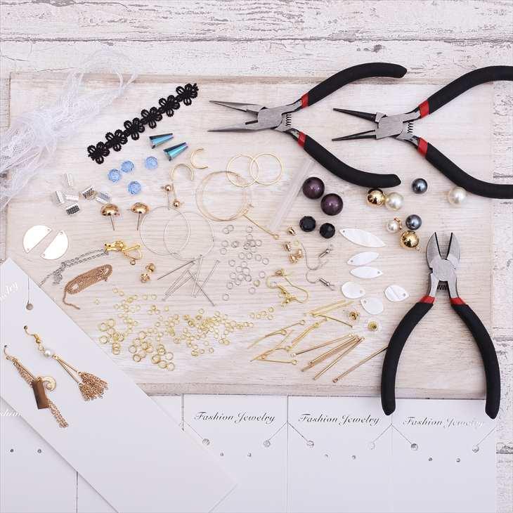 手作りアクセサリー スターターセット 初心者向け 材料とチャームのセット 工具付 初めて 家でやる お家でハンドメイド ハンドメイドアクセサリーキット ギフト ハンドメイド ハンドメイドセット アクセサリーセット