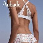 """【Aubade(オーバドゥ)】【送料無料】""""Bahia&Moi""""シリーズ、フランス、花柄プリント、マルチカラー、Bahia、イメージチェンジ、可愛い、コットン地、刺繍、ノンワイヤー、三角ソフトブラ、フロントホックブラレット"""