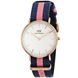 DanielWellington0505DWClassicWinchesterダニエルウェリントンクラシックウィンチェスターユニセックス腕時計ファブリック×ステンレスネイビー×ピンク×ホワイト