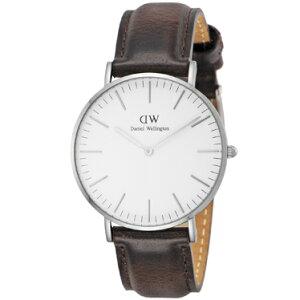 DanielWellington0611DWClassicBristolダニエルウェリントンクラシックブリストルユニセックス腕時計レザー×ステンレスダークブラウン×ホワイト