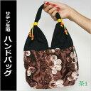 サテン地に華やかな模様が素敵なアジアン ハンドバッグ 茶色DM便OK【...
