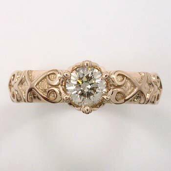 18金 0.5カラットファンシーライトブラウンダイヤモンド(K18PG)リング ピンク又はゴールド色