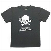 [ウェア]ABCオリジナルス「Ican'tlivewithoutTENNIS」スカルロゴDRYTシャツチャコール×ホワイト(w-0046)S(w-0046)
