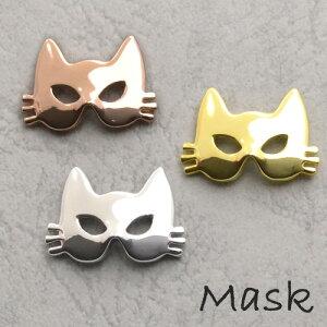 ハロウィンピンブローチ ネコマスク 3カラー(ピンクゴールド、ゴールド、シルバー) ハロウィンアクセサリー/ハロウィングッズ/プレゼント