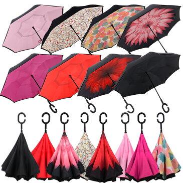逆さ傘 長傘 手離れC型 晴雨兼用 ファッション かわいい 梅雨対策メンズ レディース さかさかさ 傘 遮光 遮熱  逆向き長傘 逆さま傘 プレゼント