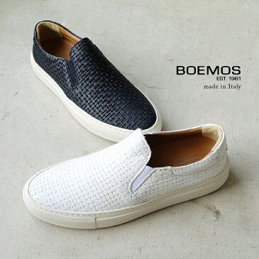 【2018ss】BOEMOS ボエモス レディース メッシュスリッポン 本革 ホワイト ネイビー (boemos8994) インポートシューズ