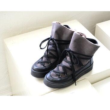 【SALE】design manifattura レースアップ スニーカー ブーツ レディース 厚底 本革 ブラック ムートン スニーカーブーツ モード(dge8033)インポートシューズ【w1】