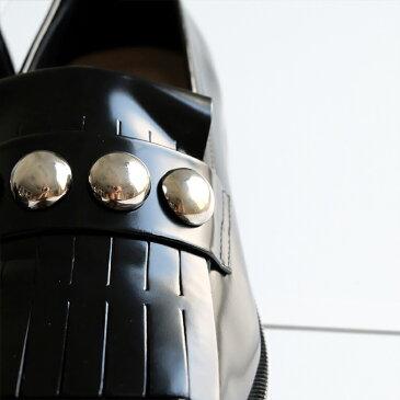 【SALE/2018AW】FABIO RUSCONI ファビオ ルスコーニ 2018aw 本革 ローファー レディース トラッド ボールスタッズ スリッポン ブラック(fabio4359)返品交換OK ハイセンス 22.0-24.5cm インポートシューズ