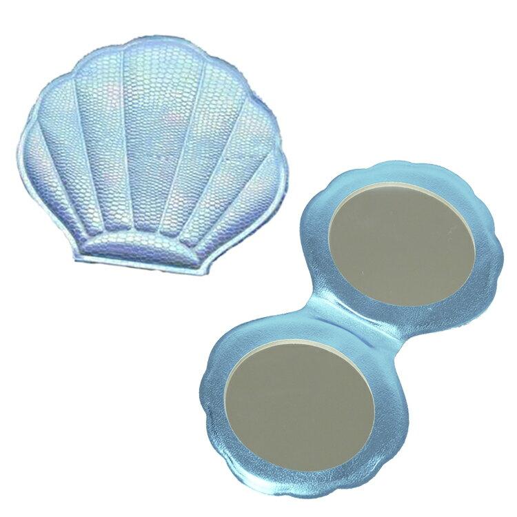 【シェルミラー(Mサイズ)】<ブルー/ホワイト/ピンク/シルバーホワイト>コンパクトミラー 鏡 折りたたみ 折り畳み かわいい 貝殻ハワイアン 雑貨 ファッション