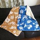 【ハワイアンブランケットひざ掛け】チャプアロブランケット(ネイビー・ベージュ)ホヌ・ヤシの木・ハイビスカス・フラガール・膝掛け・布団・毛布・寝具・肌触り・ハワイ雑貨・日用品