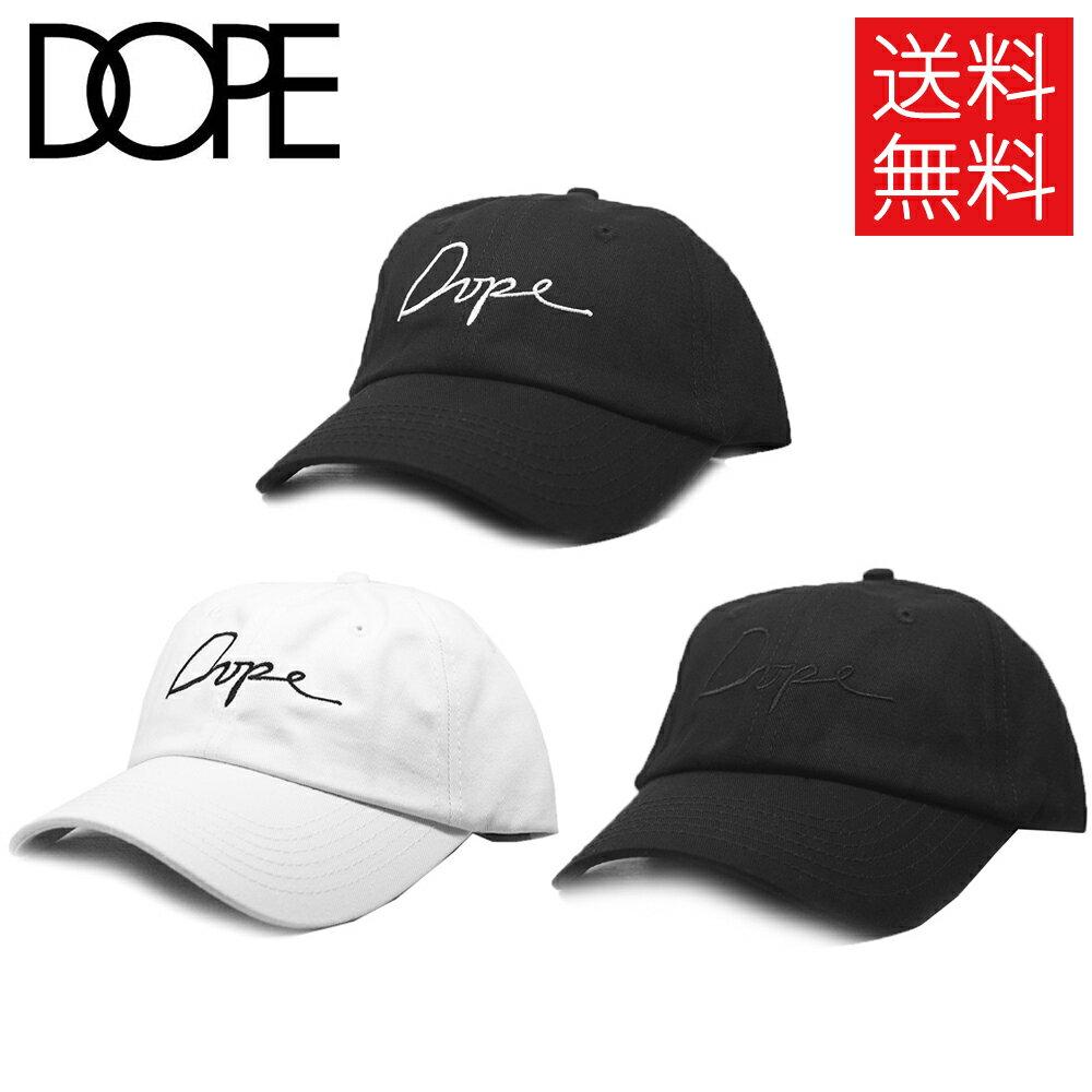 メンズ帽子, キャップ DOPE Script 6 Panel Low Cap Black White