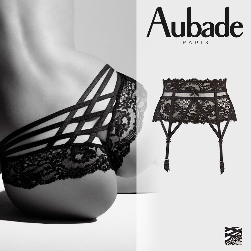 【30%オフ】フランス【Aubade】オーバドゥENTREVUE SECRETE(アントレヴ シークレット)Black(ブラック)カラー ガーターベルト(DE52):ANIYE BY