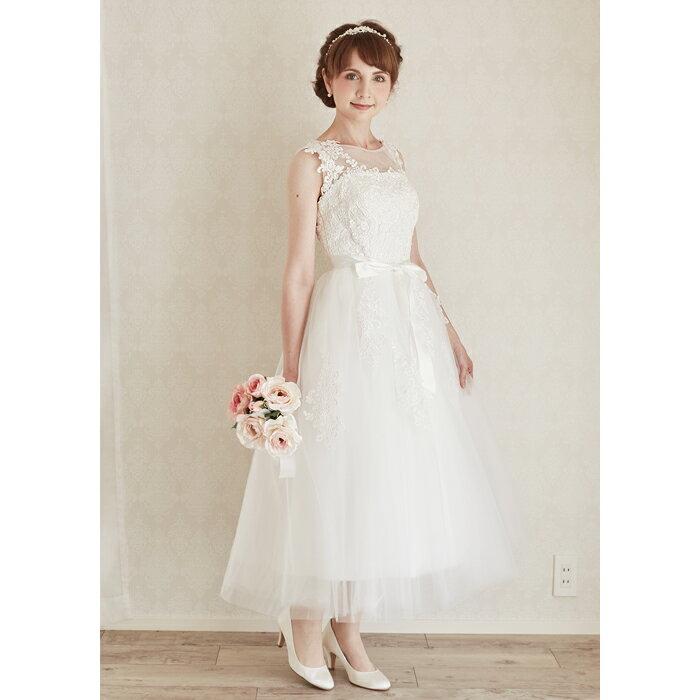 【新作】ウエディングドレスミモレ二次会花嫁ドレスウエディングドレス二次会ドレス二次会花嫁ドレスミモレ