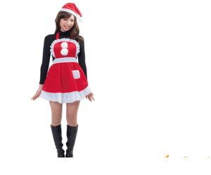 【レディ】【XM(C)-14】フリルクリスマスエプロン【クリスマスコレクション】【クリスマス】【サンタ】【サンタクロース】【パーティ】ハッピークリスマス衣装☆AOIコレクションのコス♪