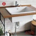 Lレクタングル4点セット 洗面器+のびる蛇口+排水金具+引き棒キャップ