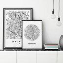 【アートポスター】- City Maps -Madrid- Circl...