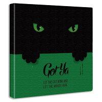 黒猫のファブリックパネル雑貨ポスター