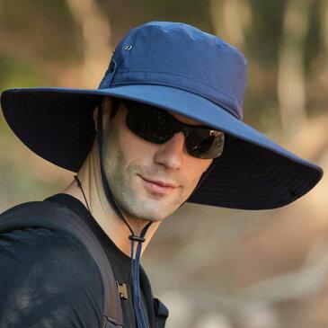 サファリハット メンズ 日除け帽子 つば広 帽子 UVカット 紫外線対策 あご紐付き 撥水性 アウトドア 旅行 登山 釣り お洒落 大きい 夏物 送料無料